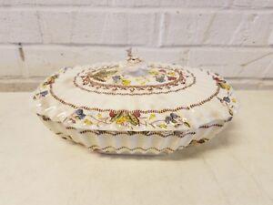 Vintage 1940's England Spode Copeland Cowslip Weave Porcelain Covered Tureen