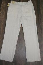 CARIBBEAN Men Linen Casual/Dress Pants Natural Khaki Beige 34x32 NEW $79.50