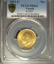 1911 C Canada Gold Sovereign S-3997, PCGS MS 64 Secure Plus