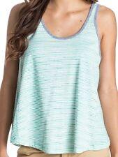 Roxy Sheep Chute White & Blue Stripes Woman Tank Top T-Shirt Size Small