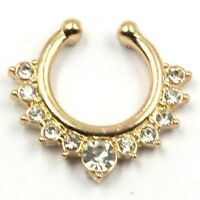 Crystal Clip On Septum Non-Piercing Fake Hoop Nose Stud Ring Body Jewelry