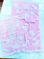 VINTAGE CANNON PINK and White SCULPTED ROSE FLORAL FRINGED BATH TOWEL Set