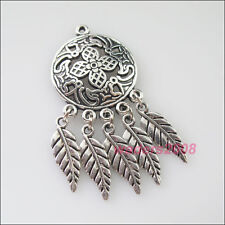 3 New Charms Antiqued Silver Round Flowers Leaves Dangle Pendants 22.5x49mm