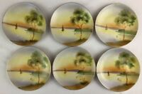 6 Hand Painted Nippon Dessert Plate Sailboat Shows wear