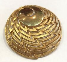 Corocraft Gold Tone Circle Round Mid Century Brooch Pin Cut Out Design Vintage