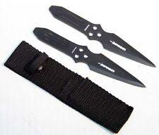 Throwing Knife 2 Piece Set w/ Sheath - Black Stainless Double Edge Blade 5317