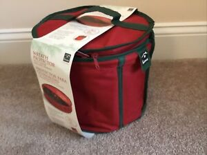 "30"" Zip Canvas Bag Christmas Holiday Wreath Storage Red & Green w Center Storage"