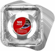 Stock Your Home Aluminum Foil Square Stove Burner Covers, Standard, 100 Count