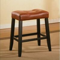 "Espresso Leather Saddle Bar Stool 24""  Set of 2 New"