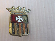 VIntage Coat of Arms Maltese Cross Crown Fraternal Safety Type Pin