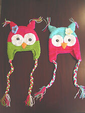 HANDMADE CROCHET KNIT HATS FOR KIDS AND BABIES-OWL WITH FLOWER-SIZES 0-5 YEARS