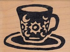 """tea cup star hot potatoes Wood Mounted Rubber Stamp 2 1/2 x 3""""  Free Shipping"""