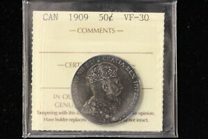 1909 Canada. 50 Cents. ICCS Graded VF-30. (XGQ271)