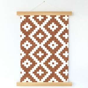 Southwestern Boho Ginger Geometric Wall Hanging Print and Hanger by Spoonflower