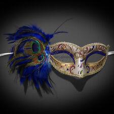 Masquerade Mask Feather Royal Blue Venetian Mardi Gras Masks for Women M1171D
