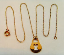 9ct Gold Padlock Pendant With A Rolo Chain