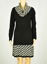 Jessica Howard Womens Black/Ivory Cowl Neck Sweater Dress Size PL