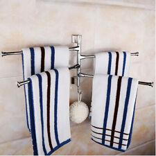 4 Bar Wall Mounted Towel Rail Rack Holder 360° Swivel Bathroom With Hook Usa ☆.