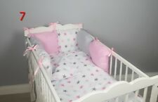 Beautiful bespoke crib cot cotbed bumper set with Marie Aristocats pink//white