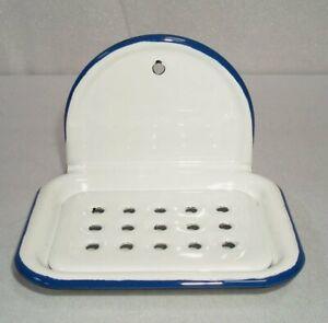 Enamel Soap Dish, Nostalgia Soap Holder to Hang 2 Piece, White Blue