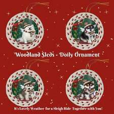 Woodland Sled Dog Cat Doily Christmas Tree Ornament