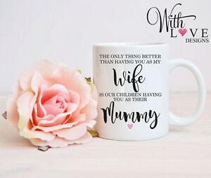 WIFE MUMMY MUM COFFEE MUG TEA CUP BIRTHDAY PERSONALISED GIFT MOTHERS DAY