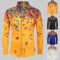 Fashion Men Novelty Musical Note Pattern Brief Long Sleeve Shirt Top Blouse