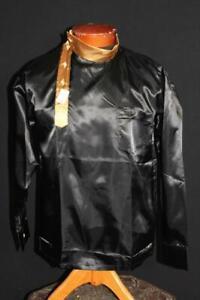 RARE VINTAGE 1960'S DEADSTOCK BLACK & GOLD SATIN NEHRU SHIRT SIZE MEDIUM