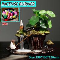 Ceramic Mountain Waterfall Backflow Smoke Incense Burner Censer Holder 20