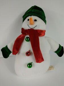 "Dan Dee Collector's Choice Snowman Plush w/ Christmas Color Bells Scarf Hat 9"""