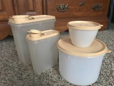 4 Vtg Tupperware Containers Canisters Refrigerator 148 Cereal Keeper #469 Almond