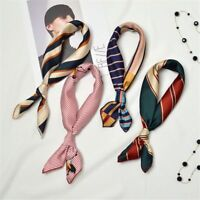 Elegant Women Gifts Silk Feel Satin Hair Tie Band Square Scarf Head Neck