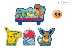Pokemon Molded Candles 4 Piece Cake Party Supplies FREE SHIPPING