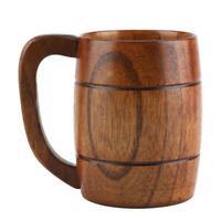Natural Wooden coffee mug Tea Water beer coffee cup with Handle
