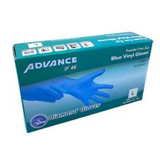 Advance Gloves Blue Vinyl Gloves Powder Free Size Small/Medium/Large/XL 100 Box