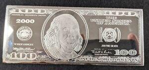 4 Troy Ounce Silver Bar, $100 Bill, Franklin, 0.999 Fine Silver