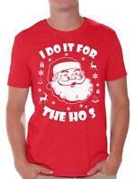 I Do It For The Hos Shirt Ugly Christmas Tshirts for Men Santa Christmas Shirts