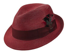 STACY ADAMS * RED WINE FEDORA HAT * L * MENS NEW FASHION SUN SHADY DRESS STRAW