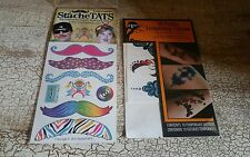 StacheTATS Temporary Mustache Tattoos and 10 Pack Body Tattoos NIPs