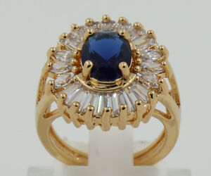Beautiful Jewelry 3.15ct Natural Sapphire 14k Solid Yellow Gold Ring Size 7.5#