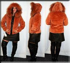 New Hooded Salmon Sheared Beaver Fur Jacket Finnish Raccoon Trim Size Small S