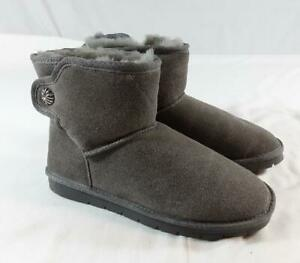 Womens Grey Suede Ankle Boots With Faux Fur Lining  EUR 37 (UK 4)