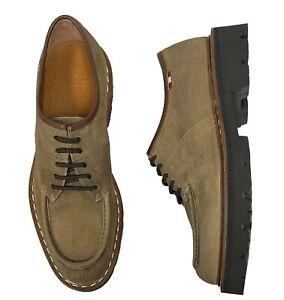 Bally Men's Shoes Size 9 (8 UK) Tan Moc-Toe Lug Sole Roughout Suede - Lyndon