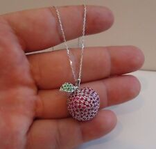 925 STERLING SILVER RED APPLE NECKLACE PENDANT W/  LAB RUBY & EMERALD / 18''