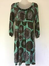 Boden Pale Green Floral Knee Length Stretch Jersey Beaded Dress Size 10