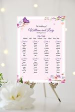 Wedding Table Plan Seating Plan Sign Chart Floral Butterfly