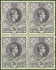 More details for swaziland 1943 2s6d violet sg36a p.13.5 x 14 v.f mnh block of 4