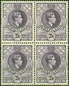 Swaziland 1943 2s6d Violette SG36a P.13.5 x 14 V.F MNH Bloc De 4