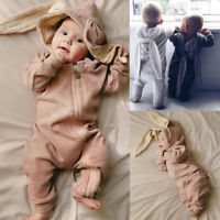 Toddler Baby Hooded Cute Rabbit Ear Warm Romper  Girls Boys Jumpsuit Outfits P