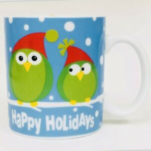 Pier 1 Imports Owl HAPPY HOLIDAYS Christmas Stoneware Coffee Mug Cup